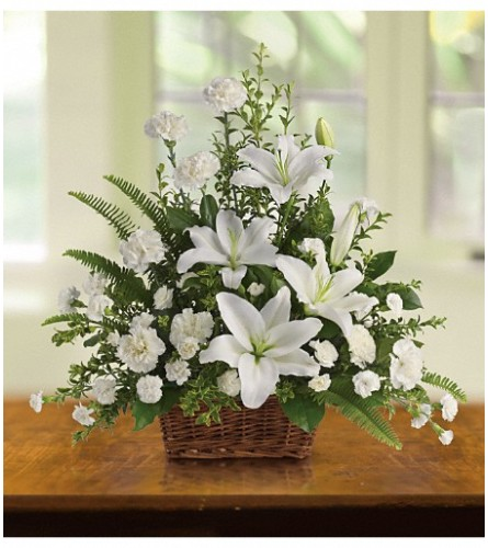 The Peaceful White Lilies Basket Teleflora