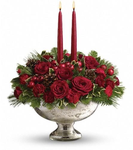 Teleflora  Mercury Glass Bowl Bouquet
