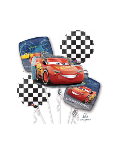 Cars Lightning McQueen Racing Super Fun Foil Balloon Bouquet