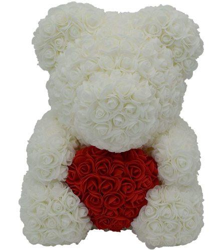 White Foam Bear With Heart