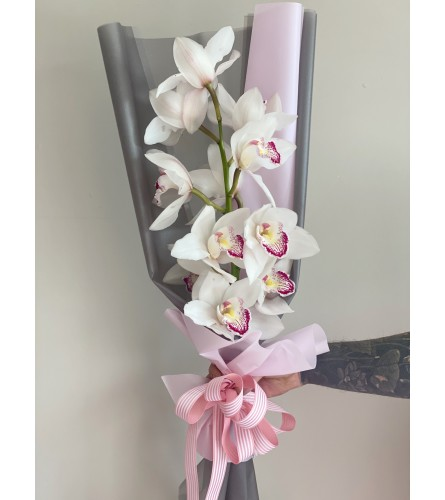 Mono Bouquet with  white Orchids