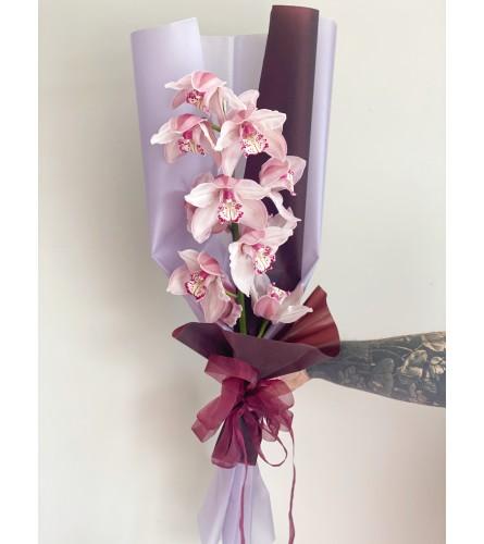 Mono Bouquet with Purple Orchids