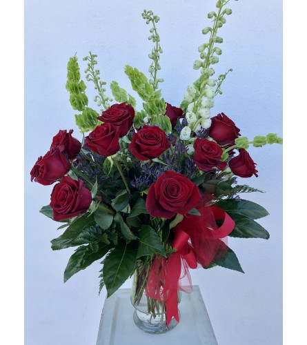 Two Dozen Roses with Tall Linears