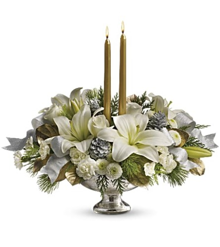 TELEFLORA  SILVER AND GOLD CENTERPIECE