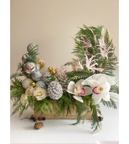 Christmas centerpiece with Orchids