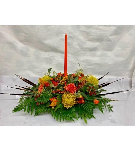 Oblong Cattail Thanksgiving Centerpiece