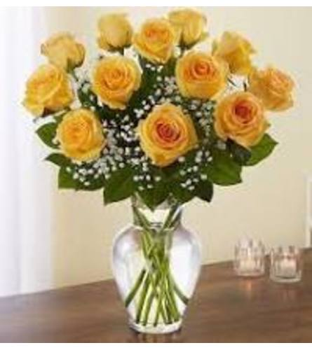 Dozen Yellow Roses Arranged In Vase