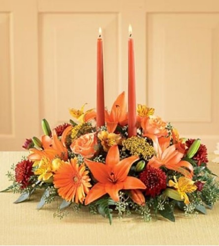 Candles in Fall Flowers