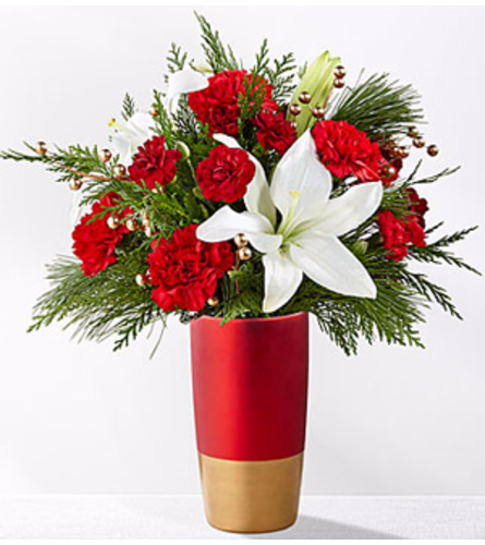 Holiday Celebrations Bouquet Gold & Red