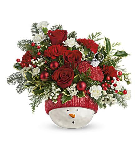 Snowman Ornament  Jar Bouquet