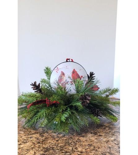 Cardinal Ornament Centerpiece