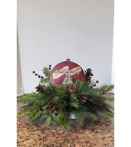 Seasons Greetings Ornament Centerpiece
