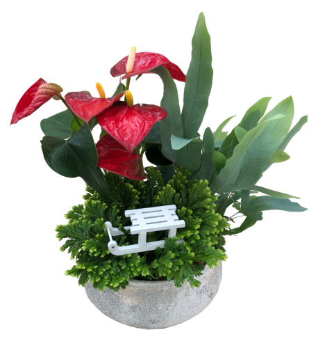 Glittery Planter with Sleigh