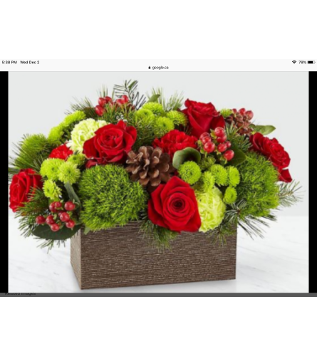 Warm and cozy holiday wishes bouquet