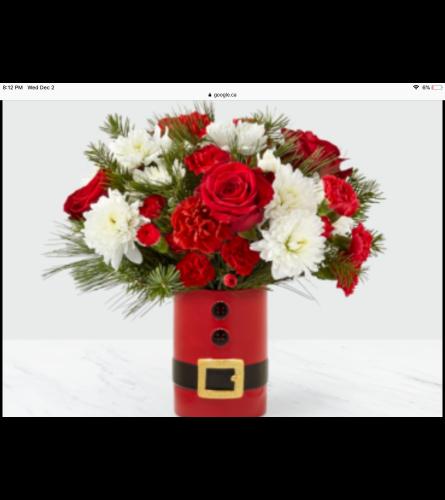 Santa's belt flower arrangement