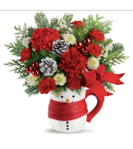 Snowman Hug with a Mug