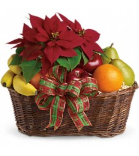 Holiday Fruit and Poinsettia Baskets
