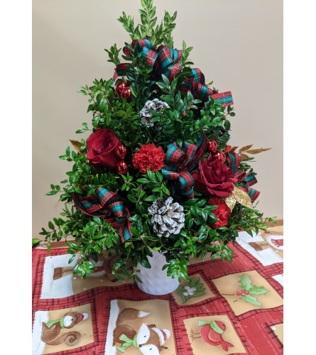 Floral Boxwood Tree
