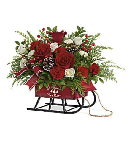 Red and White Sleigh Bells Bouquet