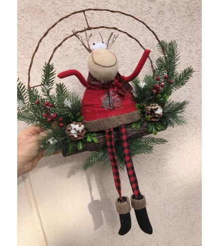 Merry Moose Christmas Wreath
