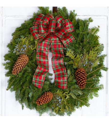 Fresh Wreath with Plaid Bow