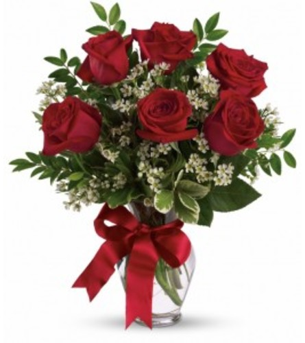 6 Red Roses Vase