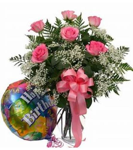 6 Pink roses in a vase with 1 mylar balloon