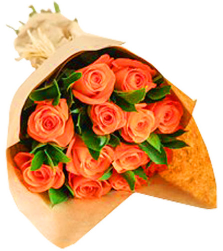 12 Orange roses in a loose wrapped bouquet