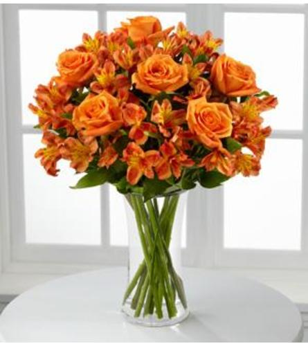 6 Orange roses with alstroemeria
