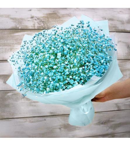 light blue baby's breath bouquet