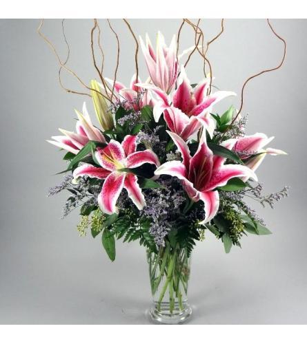 6 Pink Lilies vase