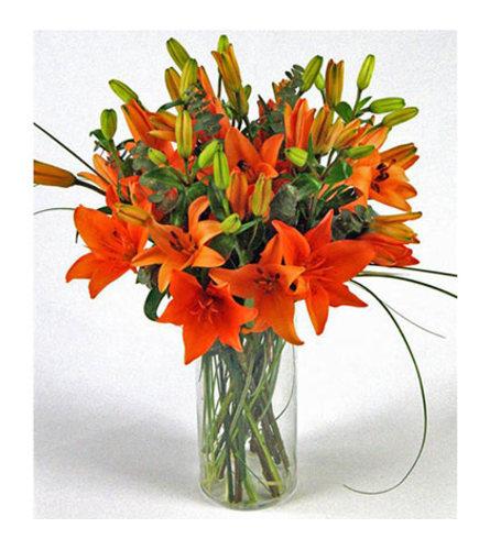 Orange lily's in a vase