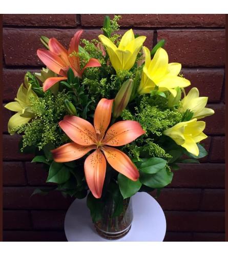 Yellow And Orange Lily's Vase