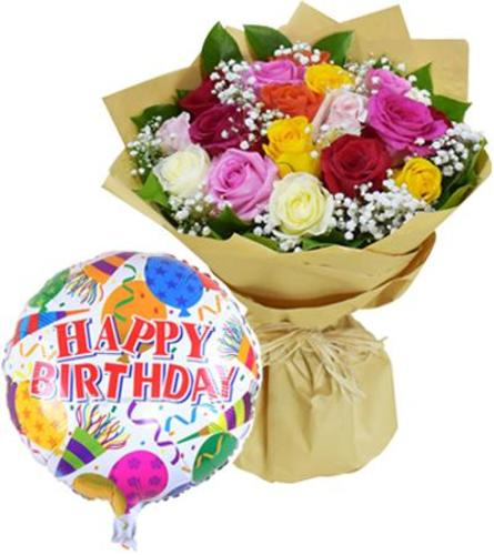 1 dozen Assorted Roses With FREE Mylar Balloon