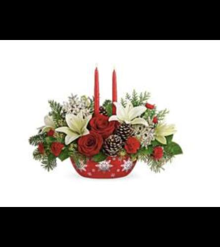 Snowflake Treasures Centerpiece Flower Arrangement 2020