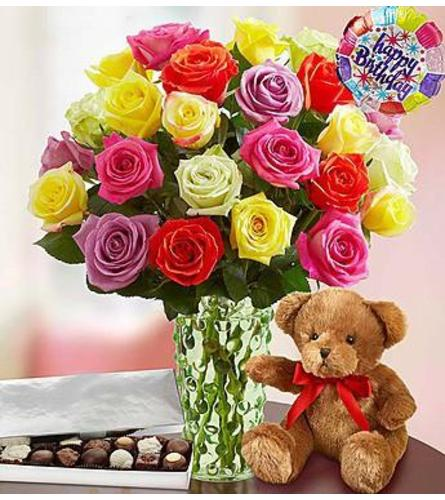 24 Assorted  roses in a vase with FREE teddy bear and balloon