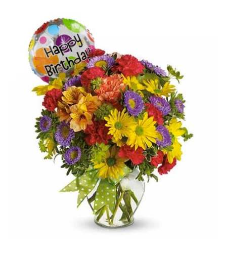 ASSORTED FLOWERS WITH HAPPY BIRTHDAY MYLAR BALLOON