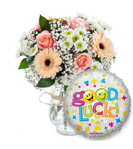 PASTEL FLOWERS IN A VASE WITH GOOD LUCK MYLAR BALLOON