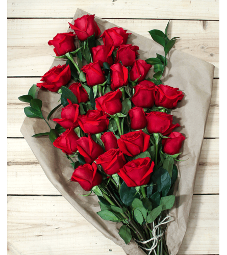 24 RED ROSES LOOSE WRAPPED WITH GREENS AND FILLERS