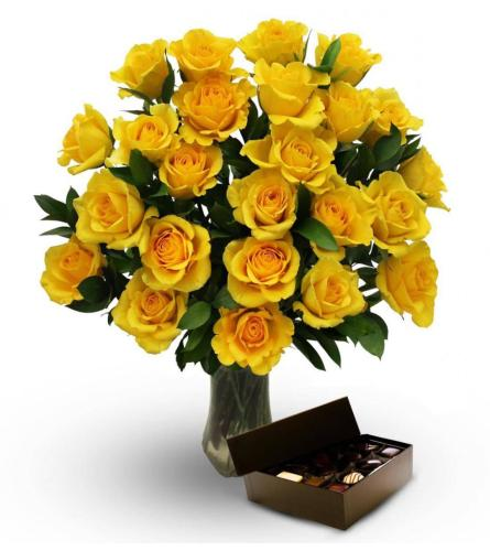 24 Yellow roses with vase, greens,fillers and a box of chocolate