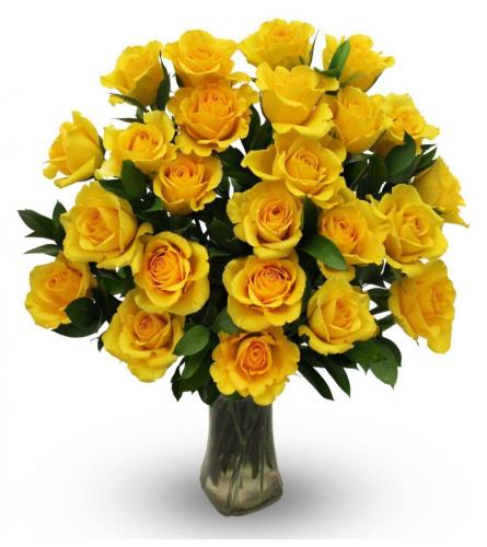 2 DOZEN LONG STEM YELLOW ROSES IN A VASE WITH GREENS AND FILLERS
