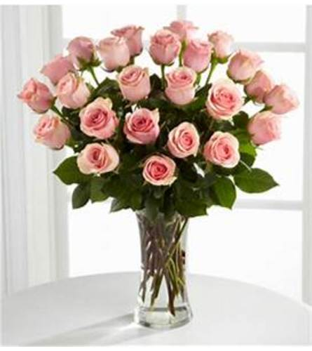24 LONG STEM PINK ROSES IN A VASE WITH GREENS