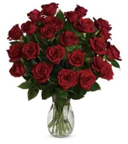 24 LONG STEM RED ROSES IN A VASE WITH GREENS AND FILLERS