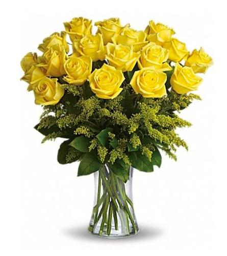 18 LONG STEM YELLOW ROSES IN A VASE WITH GREENS AND SOLIDAGO FILL