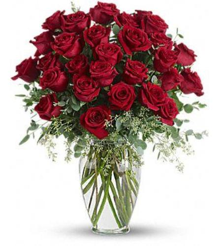 36 LONG STEM RED ROSES IN A GLASS VASE WITH SEEDED EUCALYPTUS