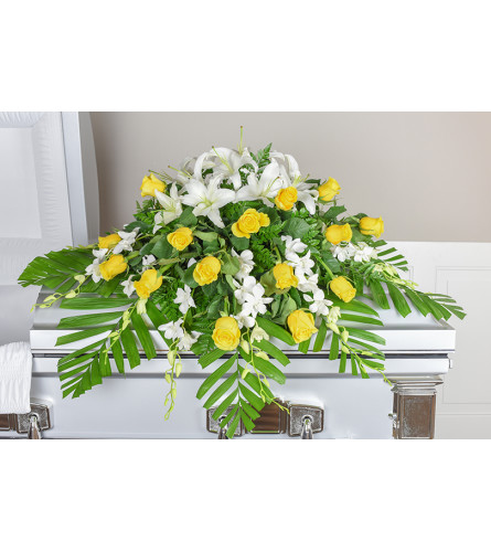 Ornate Orchid Spray Casket Spray