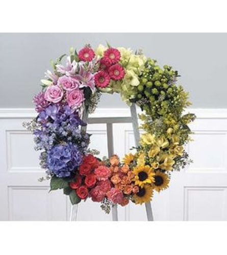Rainbow Wreath Standing Spray