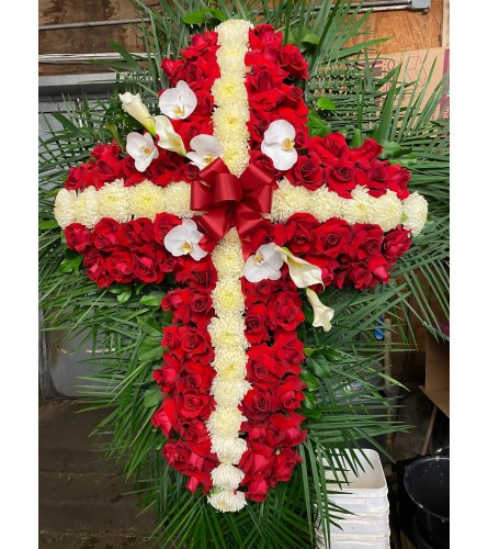 Mum Cross with Red Roses