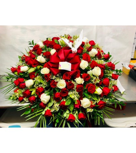 Red & White Rose Casket Spary