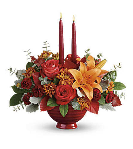 Fall blooms in a centerpiece